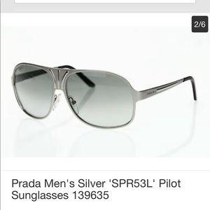 PRADA Men's Silver 'SPR53L' Pilot Sunglasses